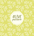 seamless pattern ink drawn olive branch vector image