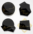 Set 4 black label with gold text Stylish realistic vector image