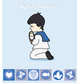 boy praying vector image