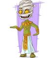 Cartoon funny green Egyptian mummy vector image