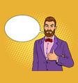 man with beard thumbs up pop art vector image