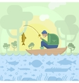 Fisherman in boat and fishes vector image
