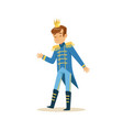 cute little boy wearing a blue prince costume vector image vector image