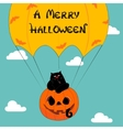 Halloween greeting with funny cat vector image