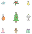 Collection of Cute Christmas Items vector image