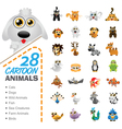 Big set of various cartoon animals and birds vector image