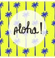 Bright summer card with palm tree seamless pattern vector image
