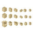 Cardboard box isometrics set Different variants of vector image