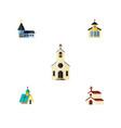 flat icon building set of catholic religion vector image