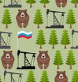 Russian seamless pattern Bears and forest Oil rig vector image