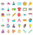 sketching icons set cartoon style vector image