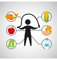sport man jumping rope nutrition health vector image