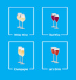 white and red wine champagne vector image