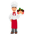 young professional chef in uniform and cook hat vector image