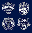 Basketball sport emblem set vector image