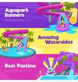 Aquapark Horizontal Banners vector image