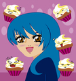 manga girl with kawaii cupcakes vector image