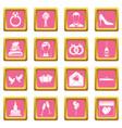 wedding icons pink vector image