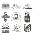 Set of vintage barber shop logo labels badges vector image