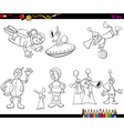 aliens and spaceman coloring book vector image