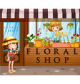 Floral shop with seller and customer vector image vector image
