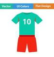 Flat design icon of football uniform vector image
