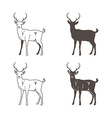 Abstract Four Deer Silhouette vector image