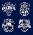 Basketball sport emblem set vector image