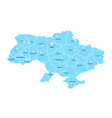 blue ukraine map with pin on white background vector image