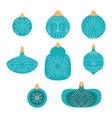 collection blue hand drawn christmas ball vector image
