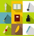 writer equipment icons set flat style vector image