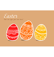 Three easter painted eggs on brown vector image vector image
