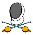 fencing swords and helmet mask icon icon cartoon vector image