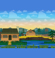 landscape of house on river vector image vector image