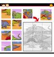 cartoon dinosaurs jigsaw puzzle game vector image