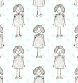 Sketch cute little girl vector image