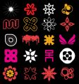 funky icon shapes vector image vector image