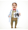Psychiatrist doctor in a white coat and a vector image vector image