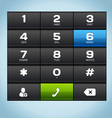 Black Number Phone Keypad vector image
