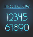 Glowing neon elements Lighting digits set vector image
