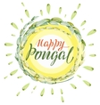 Happy Pongal lettering text Harvest of rice and vector image