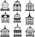 set of 9 vintage birdcages vector image
