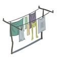 Clean clothes that are drying on line in rows vector image