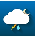 Night cloud moon lightning and rain drop isolated vector image vector image