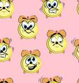 Funny cartoon alarm clock seamless pattern vector image