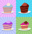 Set a piece of cake on a plate Cake on a bright vector image