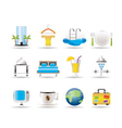hotel and holidays icons vector image vector image