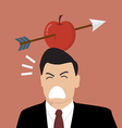 Businessman with apple and arrow on his head vector image