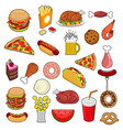 fast food big set signs of feed icon collection vector image
