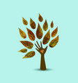 hand tree nature love concept art vector image